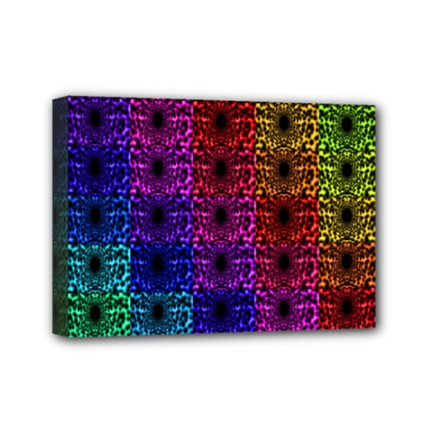 Rainbow Grid Form Abstract Mini Canvas 7  x 5