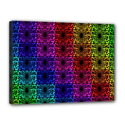 Rainbow Grid Form Abstract Canvas 16  x 12