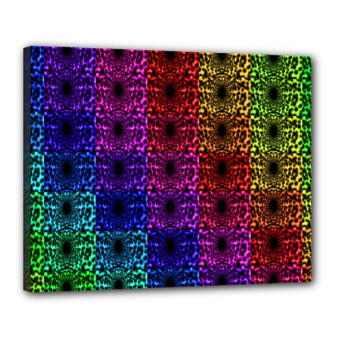 Rainbow Grid Form Abstract Canvas 20  X 16