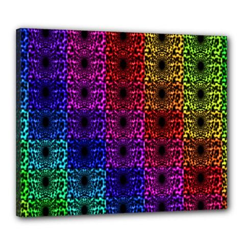 Rainbow Grid Form Abstract Canvas 24  X 20