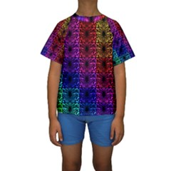 Rainbow Grid Form Abstract Kids  Short Sleeve Swimwear