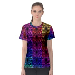 Rainbow Grid Form Abstract Women s Sport Mesh Tee