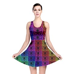 Rainbow Grid Form Abstract Reversible Skater Dress