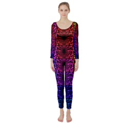 Rainbow Grid Form Abstract Long Sleeve Catsuit