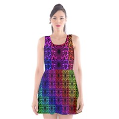 Rainbow Grid Form Abstract Scoop Neck Skater Dress