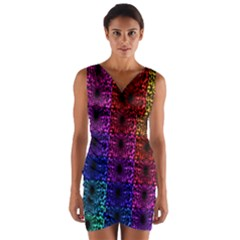 Rainbow Grid Form Abstract Wrap Front Bodycon Dress