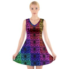 Rainbow Grid Form Abstract V Neck Sleeveless Skater Dress