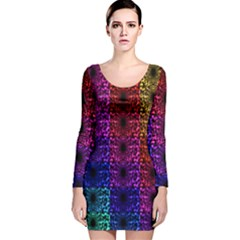 Rainbow Grid Form Abstract Long Sleeve Velvet Bodycon Dress