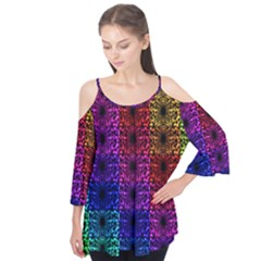 Rainbow Grid Form Abstract Flutter Tees