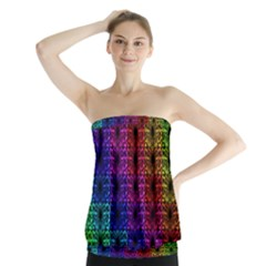 Rainbow Grid Form Abstract Strapless Top