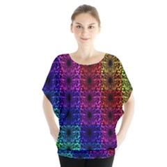 Rainbow Grid Form Abstract Blouse