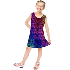 Rainbow Grid Form Abstract Kids  Tunic Dress