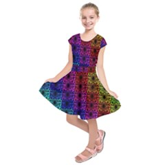 Rainbow Grid Form Abstract Kids  Short Sleeve Dress