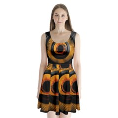 Fractal pattern Split Back Mini Dress