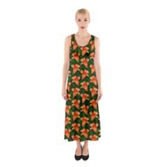 Background Wallpaper Flowers Green Sleeveless Maxi Dress