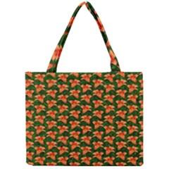 Background Wallpaper Flowers Green Mini Tote Bag