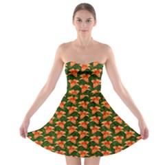 Background Wallpaper Flowers Green Strapless Bra Top Dress