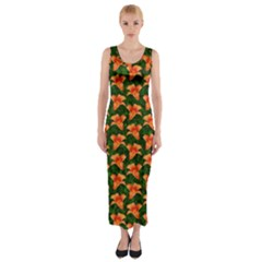 Background Wallpaper Flowers Green Fitted Maxi Dress