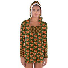 Background Wallpaper Flowers Green Women s Long Sleeve Hooded T-shirt