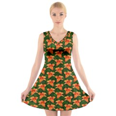 Background Wallpaper Flowers Green V Neck Sleeveless Skater Dress