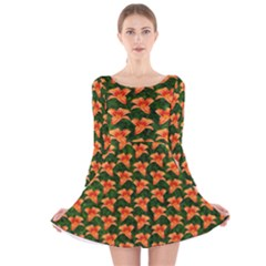 Background Wallpaper Flowers Green Long Sleeve Velvet Skater Dress