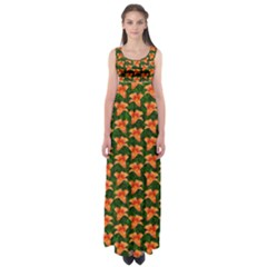 Background Wallpaper Flowers Green Empire Waist Maxi Dress