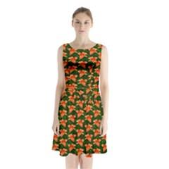 Background Wallpaper Flowers Green Sleeveless Chiffon Waist Tie Dress