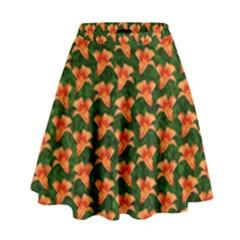 Background Wallpaper Flowers Green High Waist Skirt
