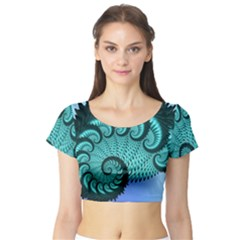 Fractals Texture Abstract Short Sleeve Crop Top (tight Fit)