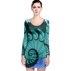 Fractals Texture Abstract Long Sleeve Bodycon Dress