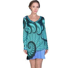 Fractals Texture Abstract Long Sleeve Nightdress