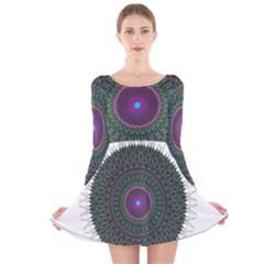 Pattern District Background Long Sleeve Velvet Skater Dress