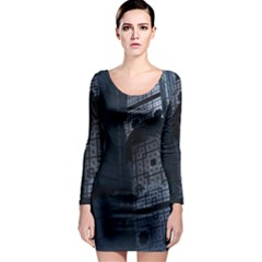 Graphic Design Background Long Sleeve Bodycon Dress