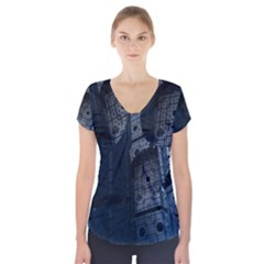 Graphic Design Background Short Sleeve Front Detail Top