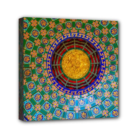 Temple Abstract Ceiling Chinese Mini Canvas 6  x 6