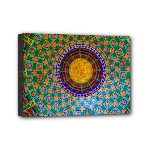Temple Abstract Ceiling Chinese Mini Canvas 7  x 5