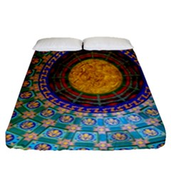 Temple Abstract Ceiling Chinese Fitted Sheet (queen Size)