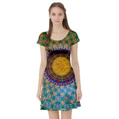 Temple Abstract Ceiling Chinese Short Sleeve Skater Dress