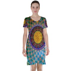 Temple Abstract Ceiling Chinese Short Sleeve Nightdress