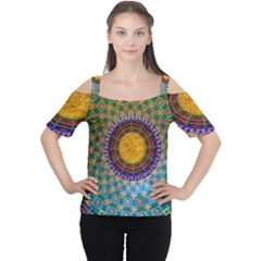 Temple Abstract Ceiling Chinese Women s Cutout Shoulder Tee