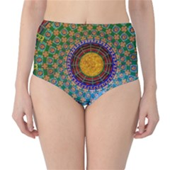 Temple Abstract Ceiling Chinese High Waist Bikini Bottoms