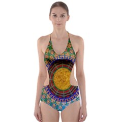 Temple Abstract Ceiling Chinese Cut-Out One Piece Swimsuit