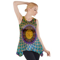 Temple Abstract Ceiling Chinese Side Drop Tank Tunic