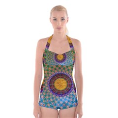 Temple Abstract Ceiling Chinese Boyleg Halter Swimsuit