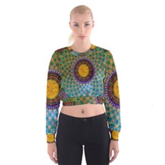 Temple Abstract Ceiling Chinese Cropped Sweatshirt