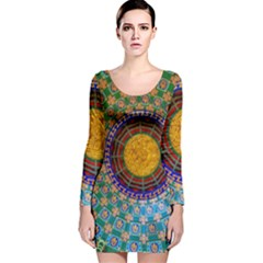Temple Abstract Ceiling Chinese Long Sleeve Velvet Bodycon Dress