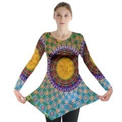 Temple Abstract Ceiling Chinese Long Sleeve Tunic