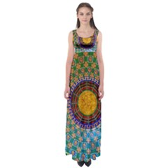 Temple Abstract Ceiling Chinese Empire Waist Maxi Dress