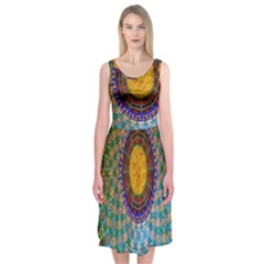 Temple Abstract Ceiling Chinese Midi Sleeveless Dress