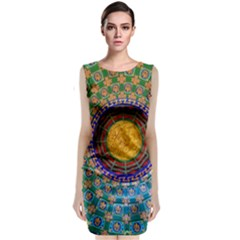 Temple Abstract Ceiling Chinese Classic Sleeveless Midi Dress
